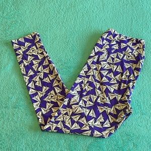 Purple & White Paper Airplane TC Lularoe Leggings